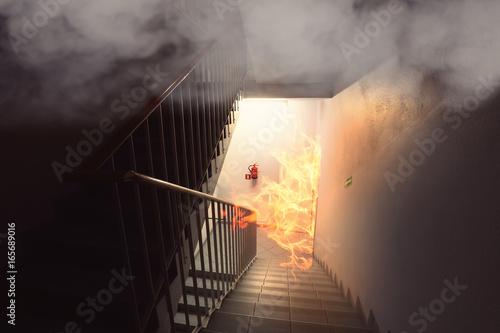 Fotografiet big fire in the building