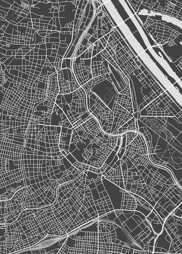 Stampa su Tela Vienna city plan, detailed vector map