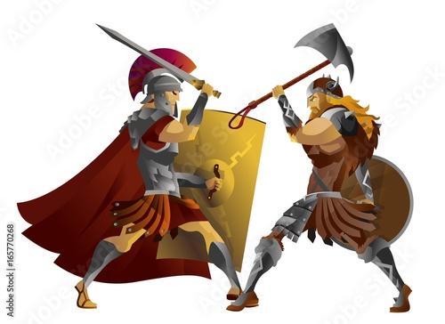Fotografia roman legionary soldier fighting german barbarian