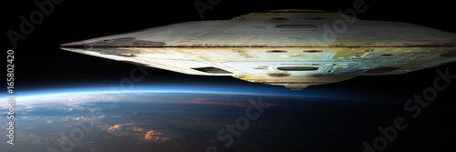 Obraz na plátně A fleet of massive spaceships known as motherships take position over Earth for a coming invasion at sunrise