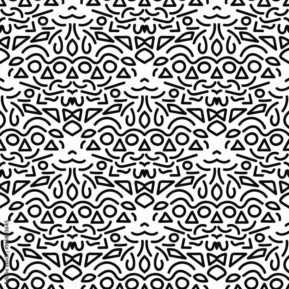 Black thin line geometric damask element seamless pattern isolated on white background. Vector illustration.