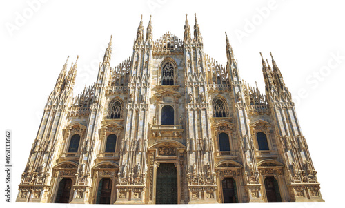 Obraz na plátně front side of Gothic cathedral in Piazza Duomo of Famous Milan Dome in Italy isolated on white background and copy space