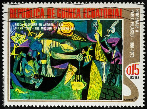 Malarstwo Rybak w nocy z Antibes przez Picasso na znaczku pocztowym