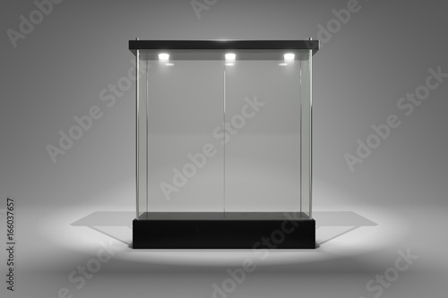 Stampa su Tela 3D rendering glass cabinet front view for product show window close door version
