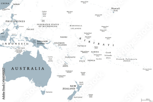 Photo Oceania political map with countries