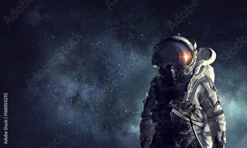 Fotografie, Tablou Astronaut explorer in space. Mixed media
