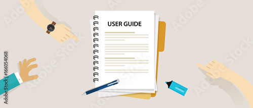 Fotografie, Obraz user guide document on table book manual