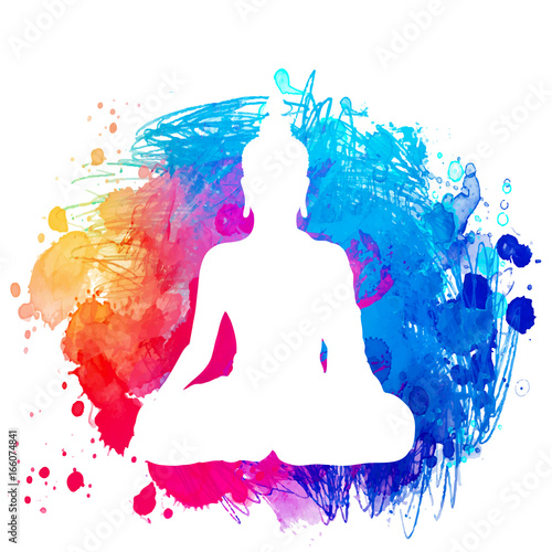 Sitting Buddha silhouette over watercolor background Fototapete