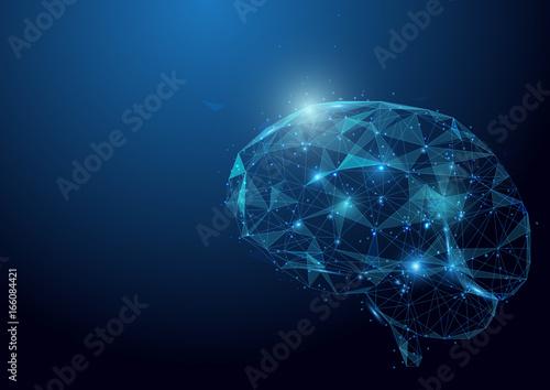 Foto Low polygon brain wireframe mesh on blue background