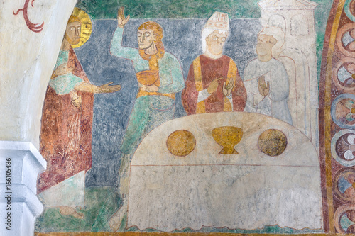 Canvas Print Marriage at Cana, an ancient romanesque fresco in a danish church
