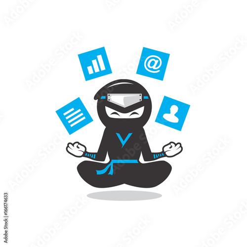 Photo playful modern ninja cartoon meditating levitating social medi clipart icon vect