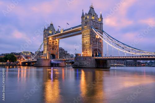 Tower Bridge in London, UK, in sunrise morning light