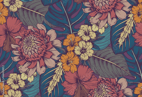 Fototapeta Vector seamless pattern with compositions of hand drawn tropical flowers