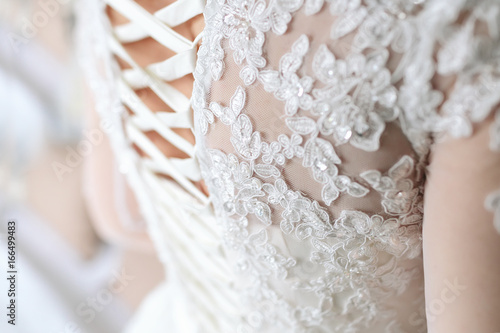 Canvas Print Image of the detailed laces on the back of a wedding dress