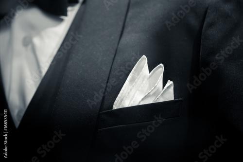Canvas Print gentle man closeup groom tuxedo suit for luxury dinner black and white art tone