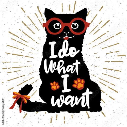 Ilustracji wektorowych. Plakat Vintage typografia z stylowy kot w okulary.