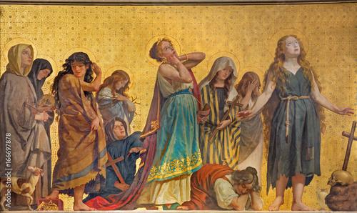 Photo TURIN, ITALY - MARCH 15, 2017: The symbolic fresco of holy women confessants in church Chiesa di San Dalmazzo by Enrico Reffo (1831-1917)