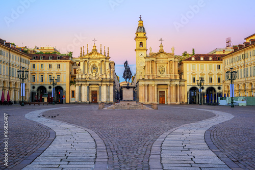 Obraz na plátně Piazza San Carlo and twin churches in the city center of Turin, Italy