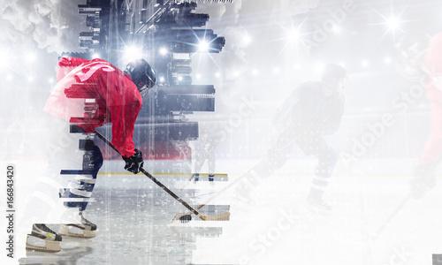 Photo Hockey players on ice. Mixed media