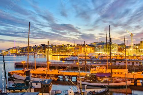 Oslo harbor at night in Oslo city, Norway