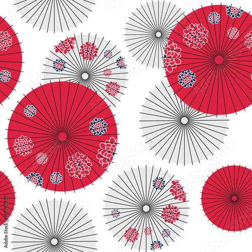 Japanese umbrella seamless pattern. Vector Illustration. Fototapeta