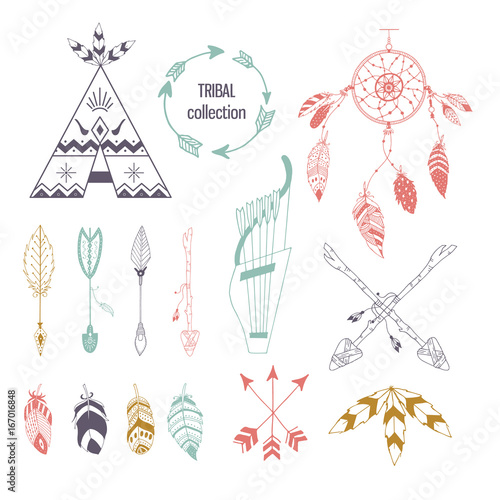 Fotografia Tribal collection of hand drawn elements in boho style