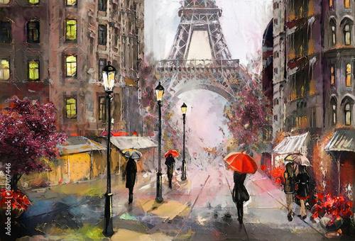obraz olejny na płótnie, widok na ulicę Paryża. Grafika. Wieża Eiffla . ludzie pod czerwonym parasolem. Drzewo. Francja