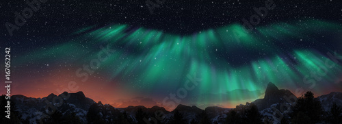 Colorful Northern Lights over starry night sky