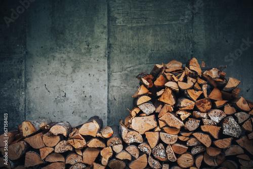 Fototapeta chopped logs for winter fire