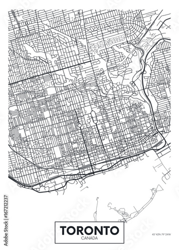 Canvas Print Detailed vector poster city map Toronto