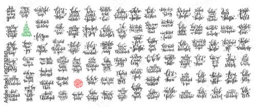 zestaw 100 czarnych atramentów świąt i szczęśliwego nowego roku uroczystości