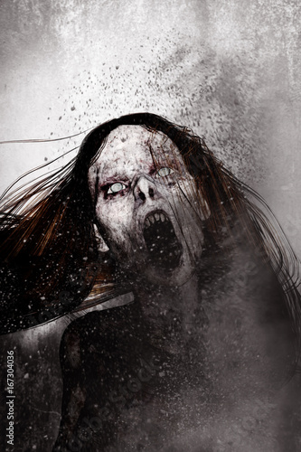 Photo 3d illustration of close up scary ghost woman,Horror background mixed media