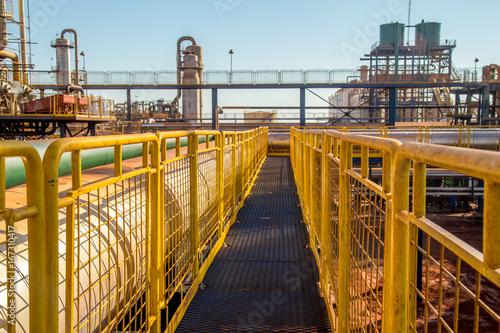 Wallpaper Mural handrail industrial yellow fence metallic
