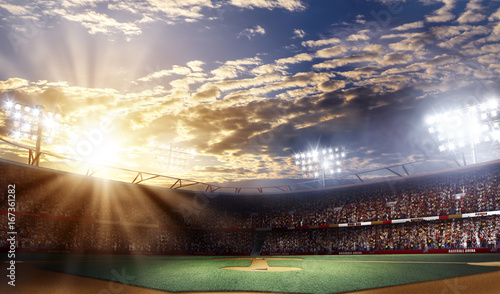 Canvas Print Professional baseball arena grande, sunset view, 3d rendering