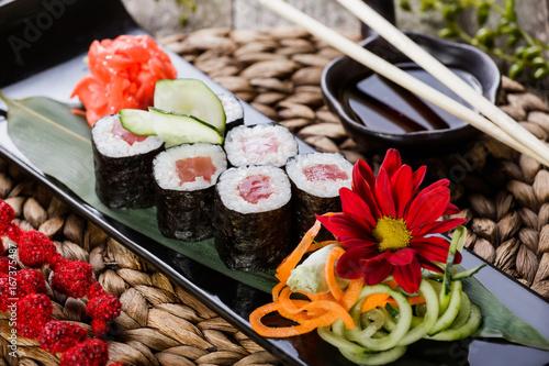 Fotografie, Obraz Sushi Rolls - Maki Sushi sashimi decorated with flowers