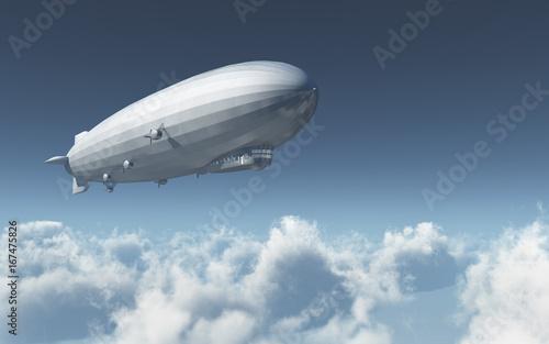 Canvas Luftschiff über den Wolken