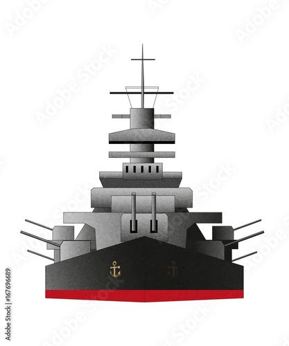 Photo Battleship icon, front, vector