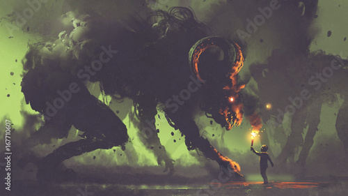 Foto dark fantasy concept showing the boy with a torch facing smoke monsters with dem