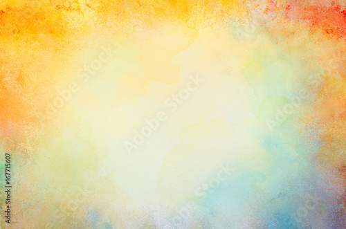 watercolor paint background design with colorful borders and white center, watercolor bleed and fringe with vibrant distressed grunge texture