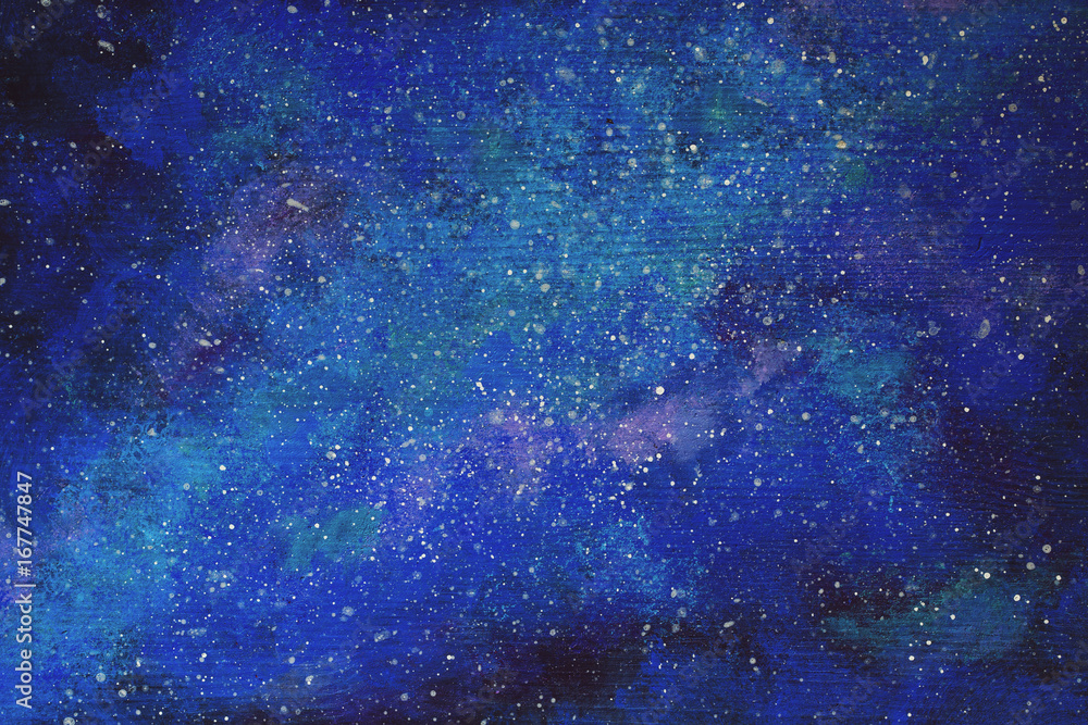 Galaxy painted ove the wooden background