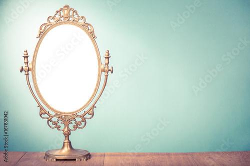 Vintage old desk mirror frame. Retro style filtered photo