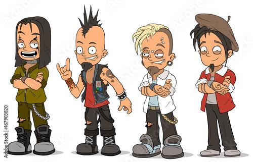 Fototapeta Cartoon punk rock metal guys characters vector set