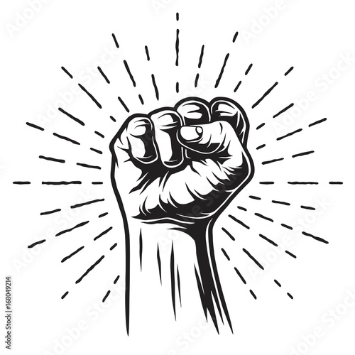 Fototapeta Monochrome illustration of fist and sunburst