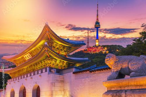 Canvas Print Landmark of Korea with covered Gyeongbokgung n Seoul Tower , South korea