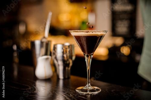 bartender decorated espresso cocktail drink white foam coffee bean