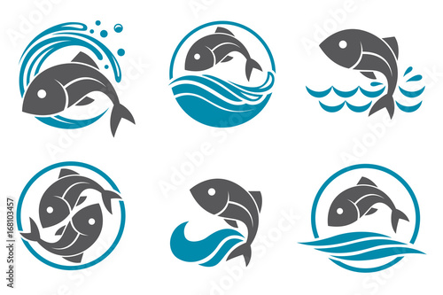 Wallpaper Mural collection of fish icon with waves