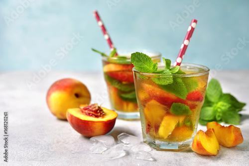 Peach iced tea with mint.