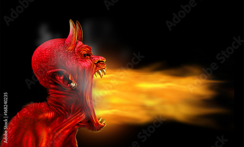 Stampa su Tela Satan Flames On Black