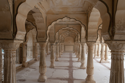 Canvas Colonnades in Public Audience Hall, Amber fort, India