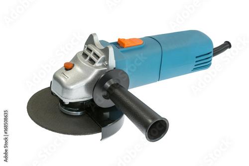 Obraz na plátne Compact blue grinder on the white background